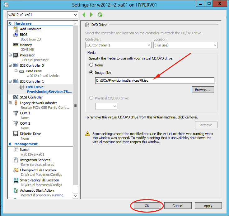 Creating a Windows 2012 R2 Target Device with Citrix