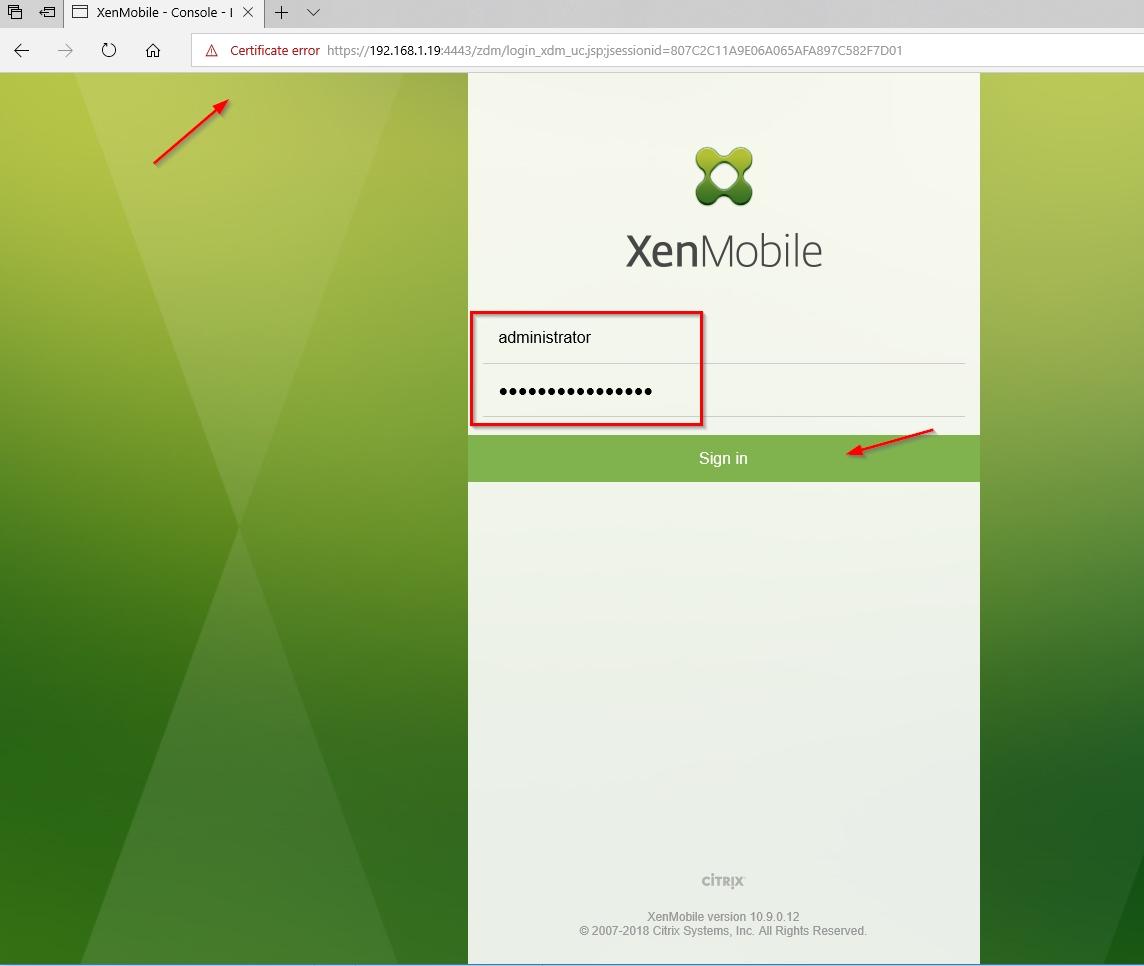 Setup Citrix Endpoint Management (Citrix XenMobile Server